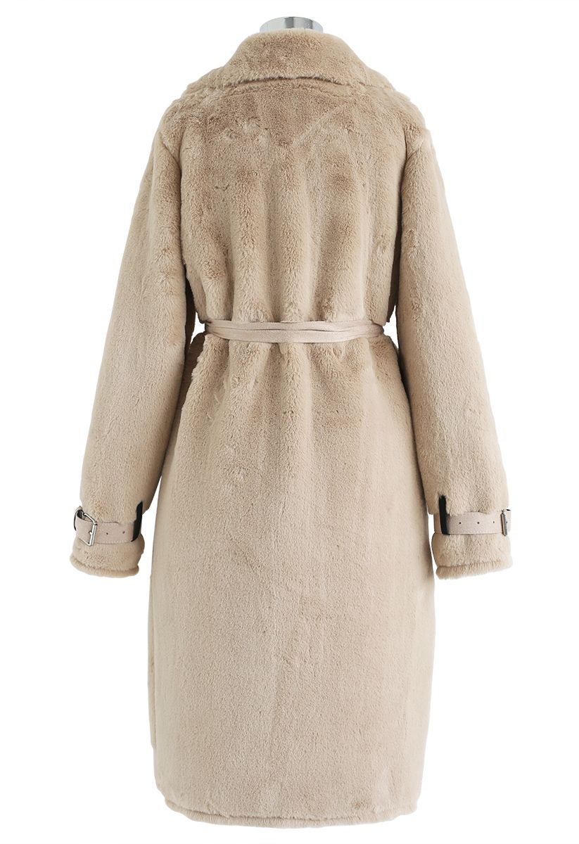 Faux Fur Double-Breasted Belted Longline Coat