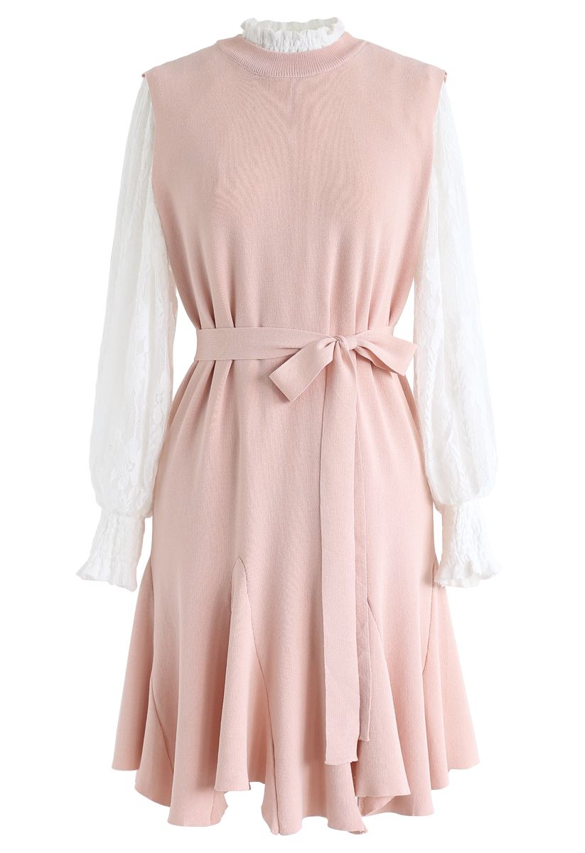 Mock Neck Lacy Top and Frill Hem Knit Dress Set in Pink