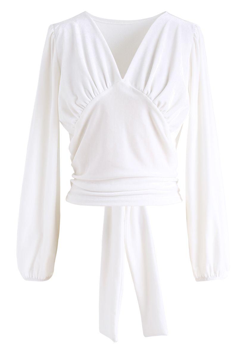 V-Neck Velvet Bowknot Crop Top in White