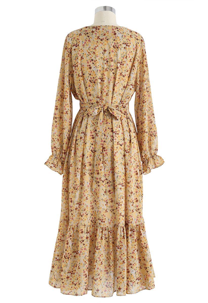 Floret V-Neck Frilling Chiffon Dress in Yellow