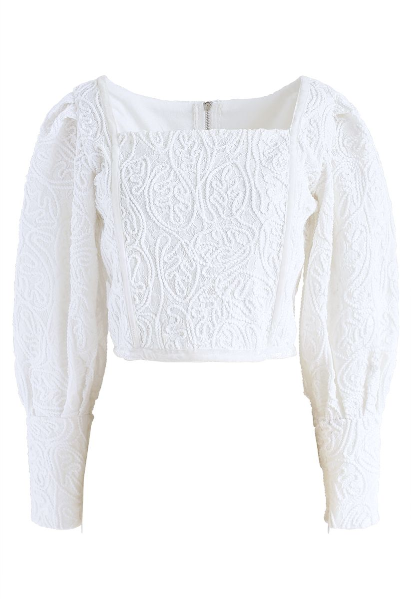 Diva Full Lace Square Neck Crop Top in White