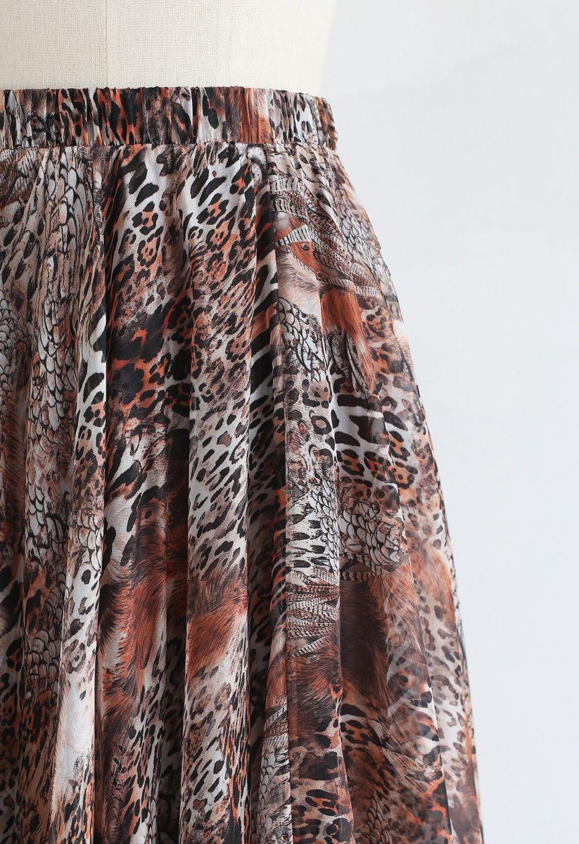 Brown Leopard Print Maxi Skirt