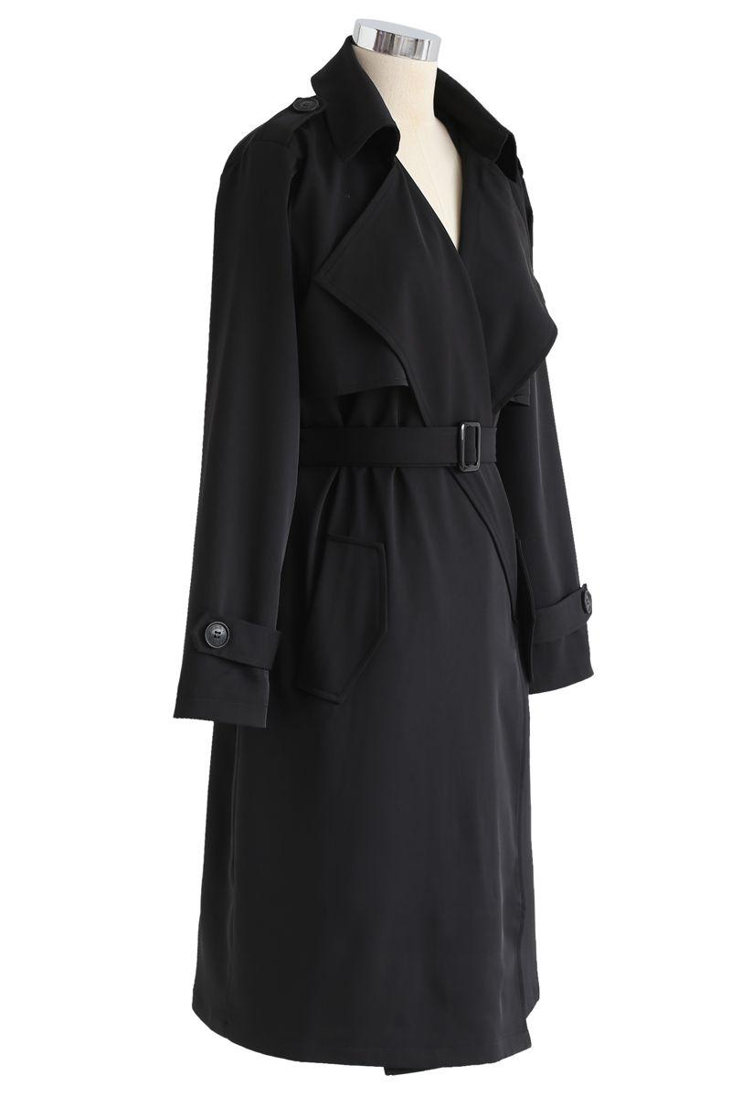 Open Front Pockets Belted Coat in Black