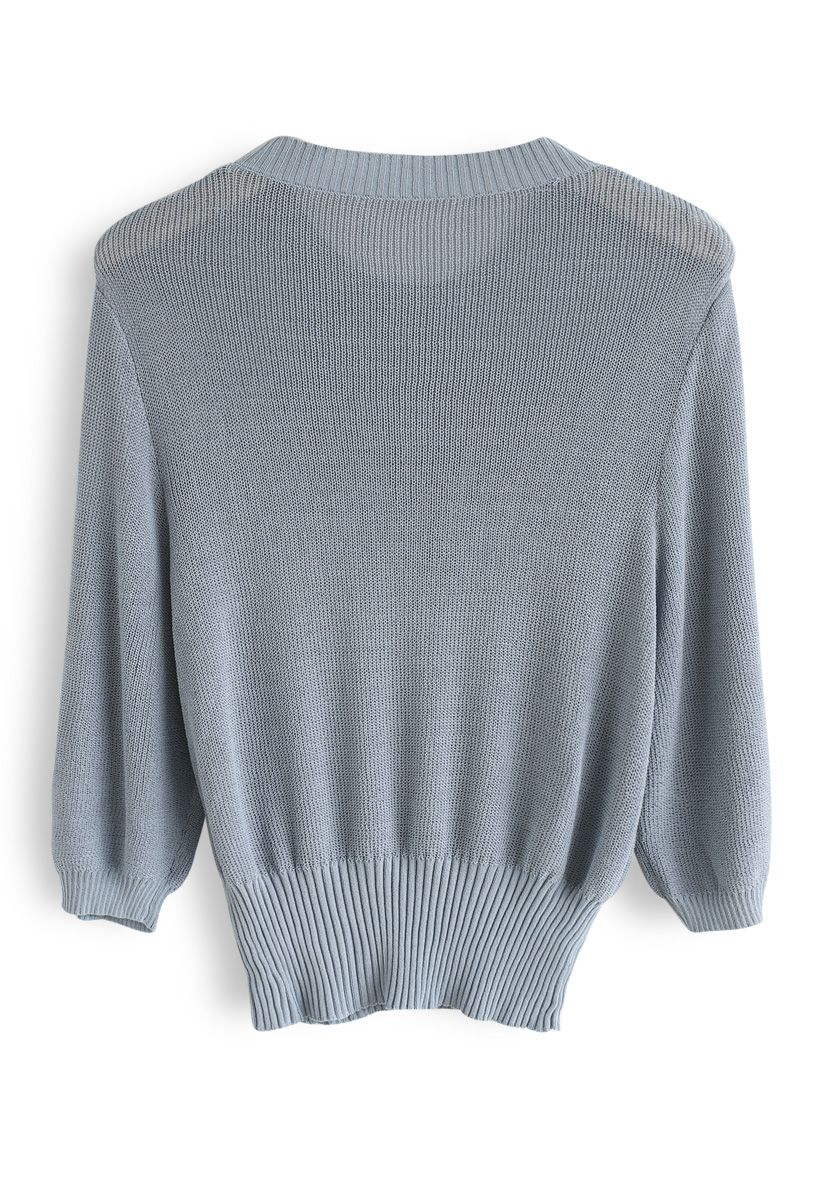 Round Neck Cropped Knit Top in Dusty Blue