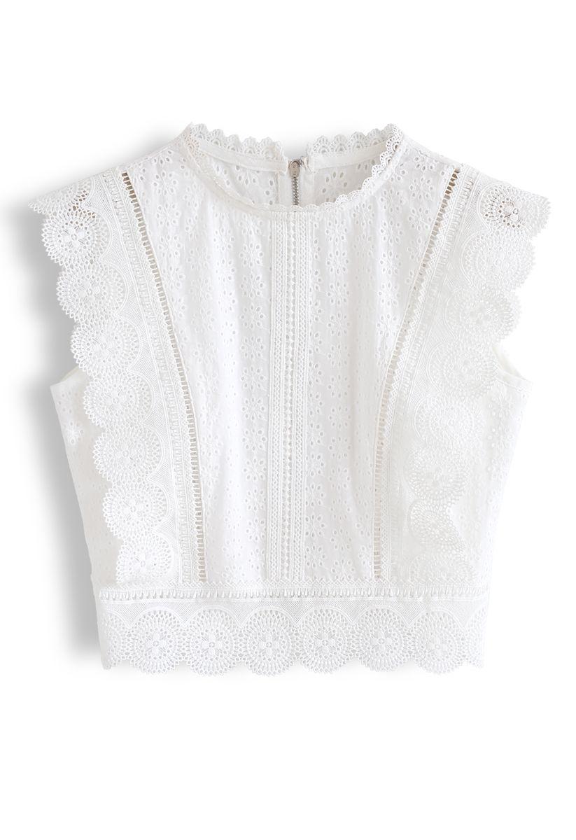 Zipper Crochet Eyelet Sleeveless Cropped Top