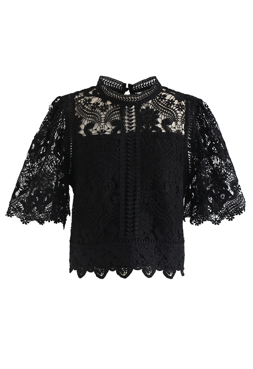 Crochet Bell Sleeves Cropped Top in Black