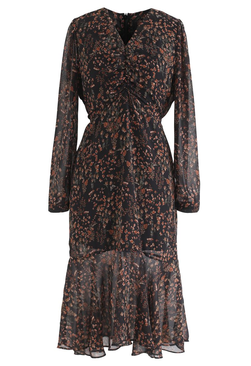 All-Over Posy Printed Chiffon Dress in Black