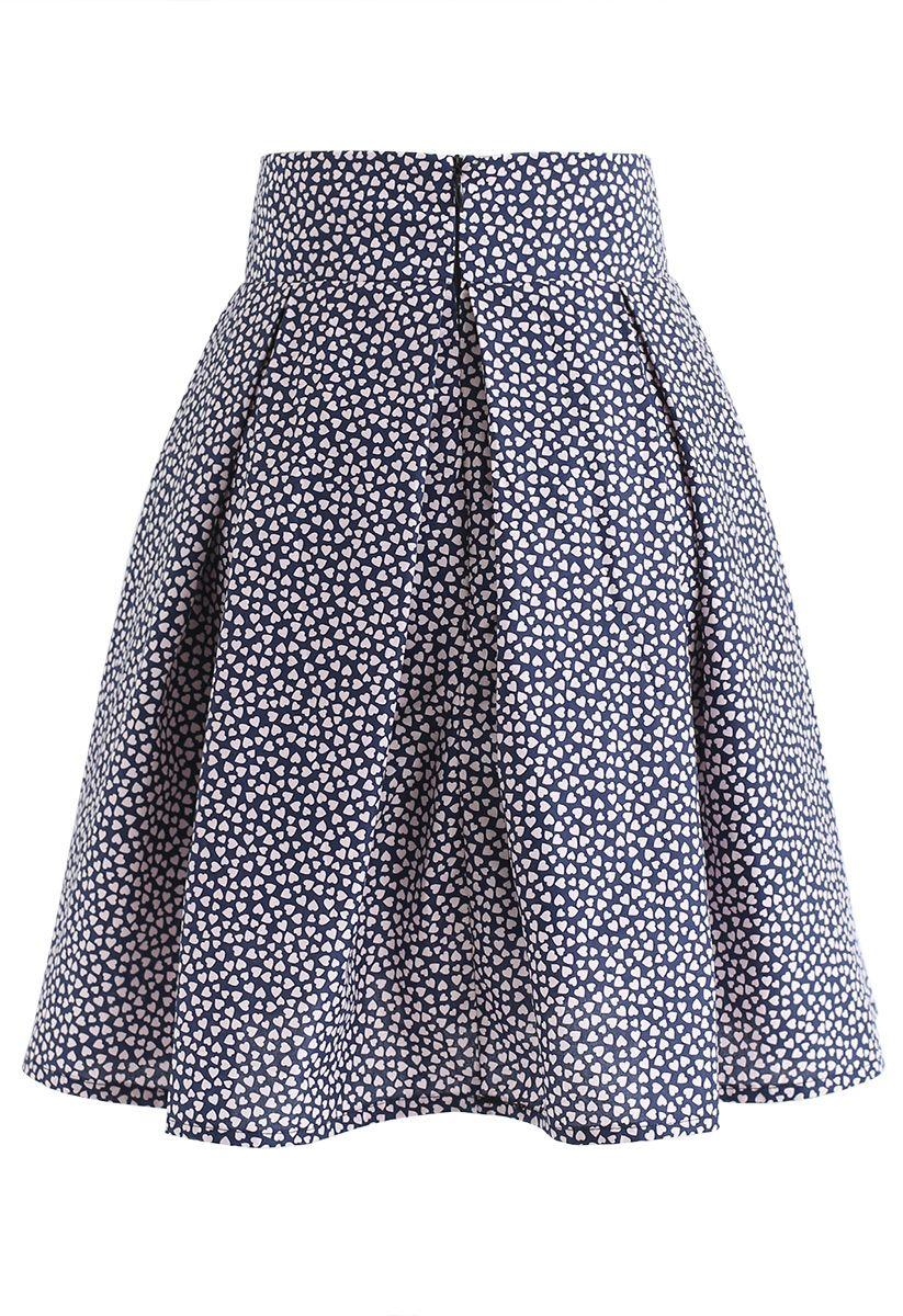 Mini Heart Print Bowknot Pleated Skirt in Navy
