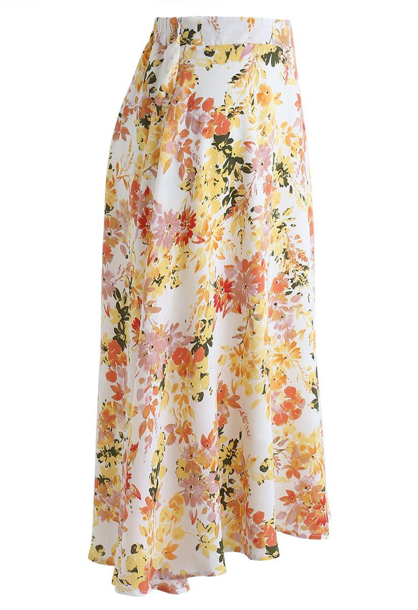 Blooming Season Watercolor Chiffon A-Line Midi Skirt in Orange