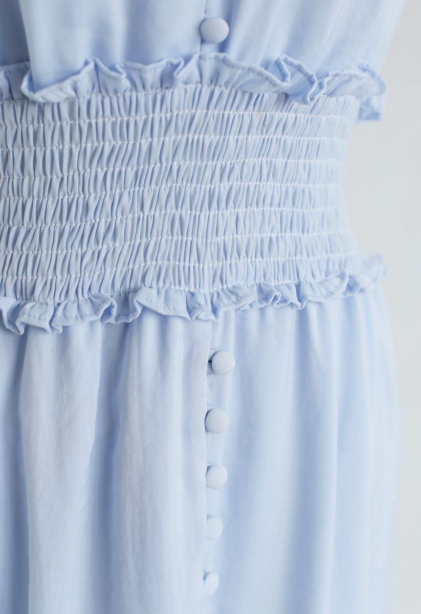 Shirred Button Down Ruffle Dress in Sky Blue