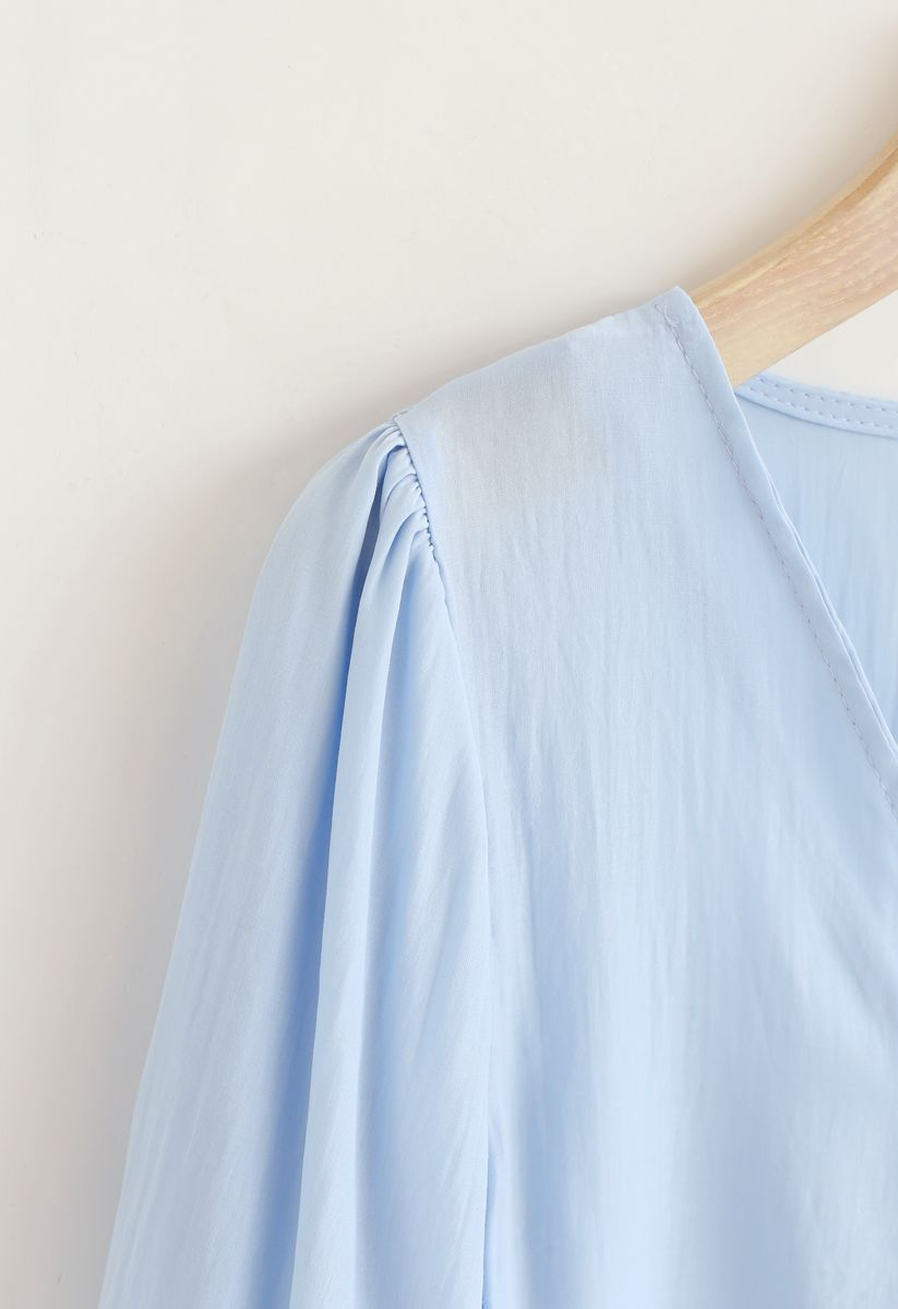 Sweet and Sound Bowknot Crop Top in Sky Blue