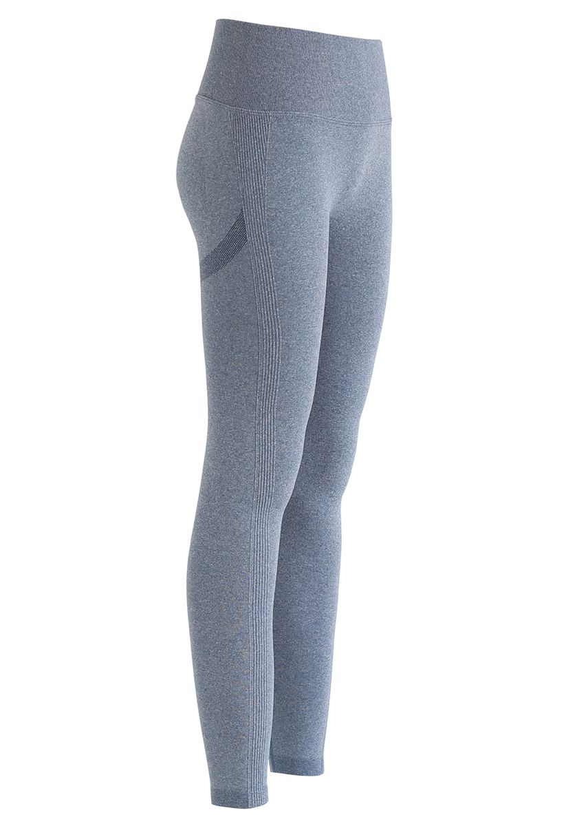 Butt Lift High-Rise Fitted Leggings in Dusty Blue