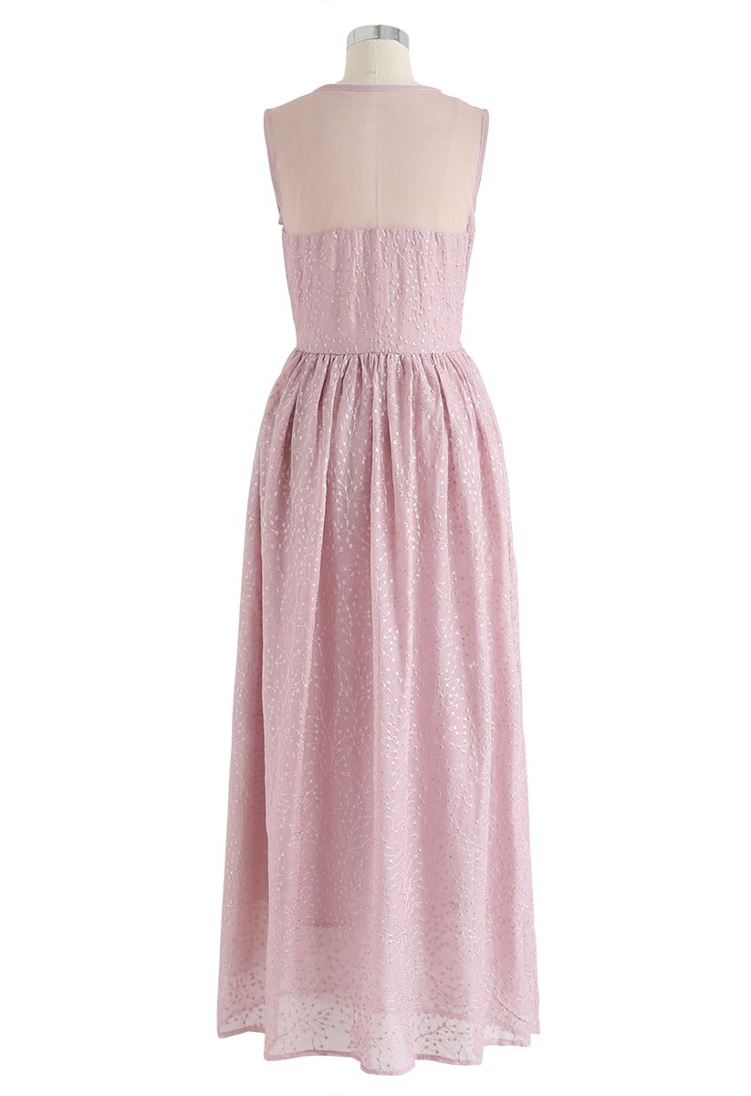 Mesh Spliced Floret Embroidered Maxi Dress in Pink
