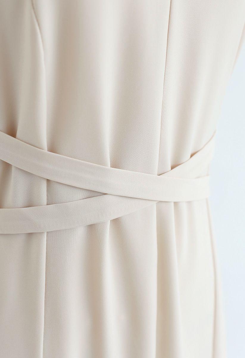 Split Shift Adjustable Cami Dress in Cream