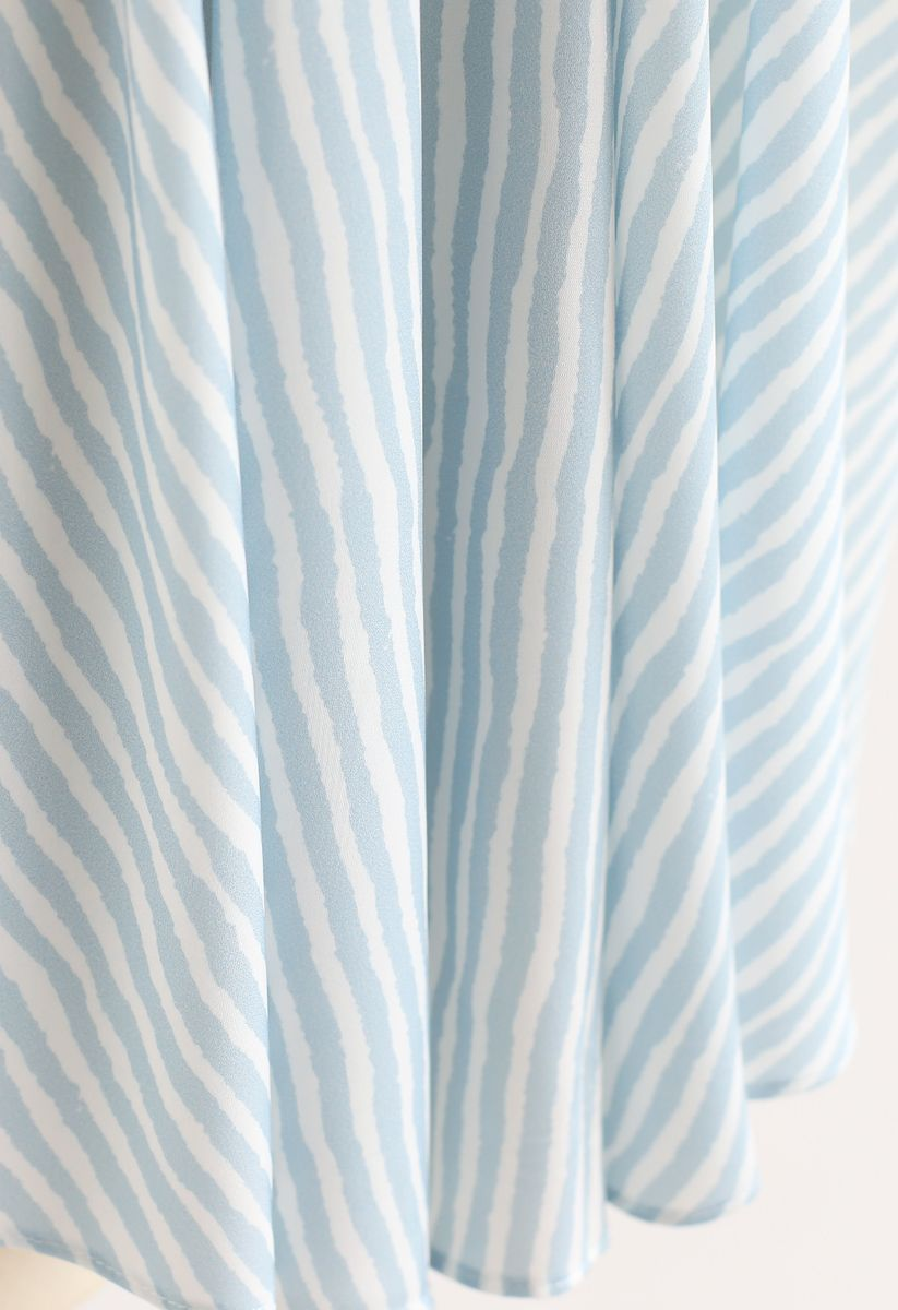 Blue Stripes Bow-Neck Sleeveless Top