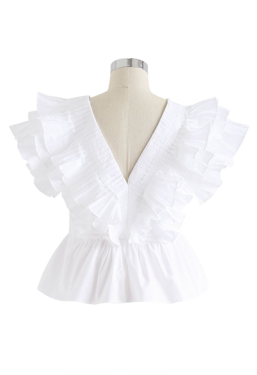 Pleated Ruffle Buttoned Deep V-Neck Crop Top