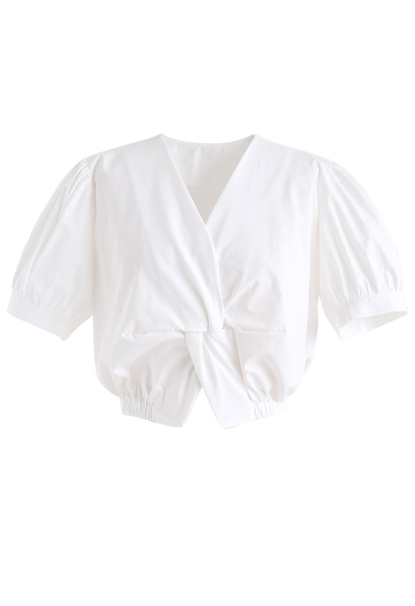 Twist Front V-Neck Cropped Top in White