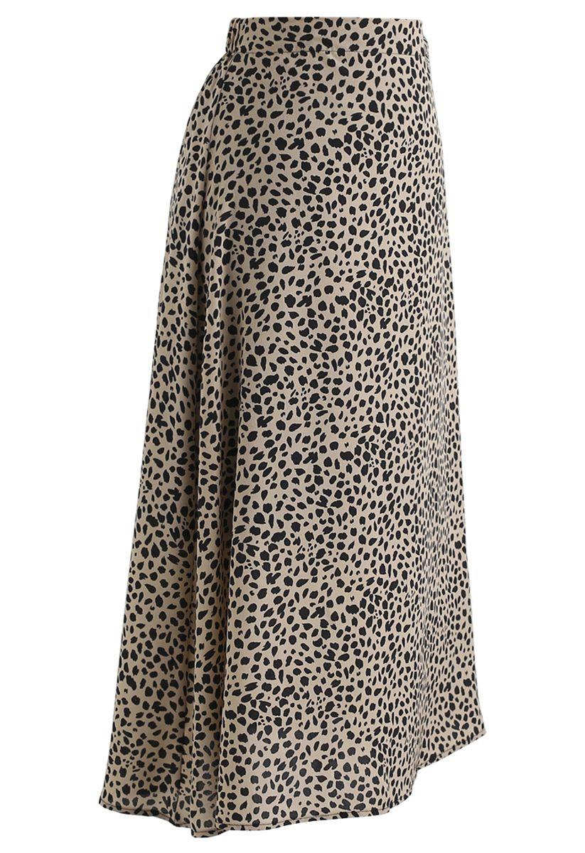 Leopard Print A-Line Midi Skirt
