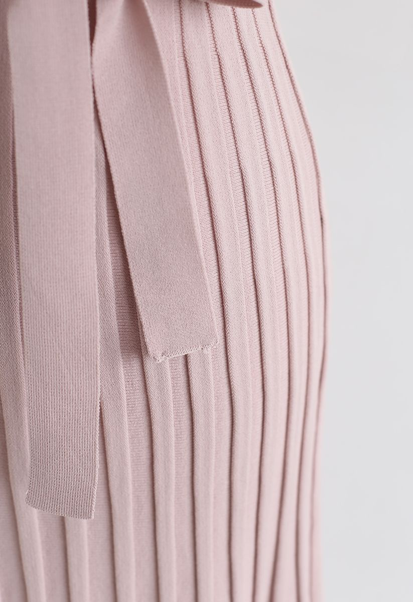Pleated Sleeveless Wrapped Knit Dress in Pink