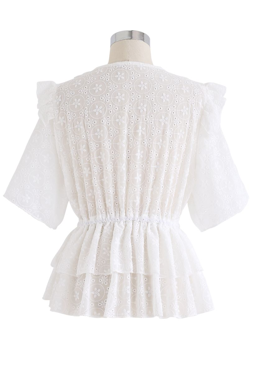 Ruffle Eyelet Embroidery Tiered Peplum Top in White