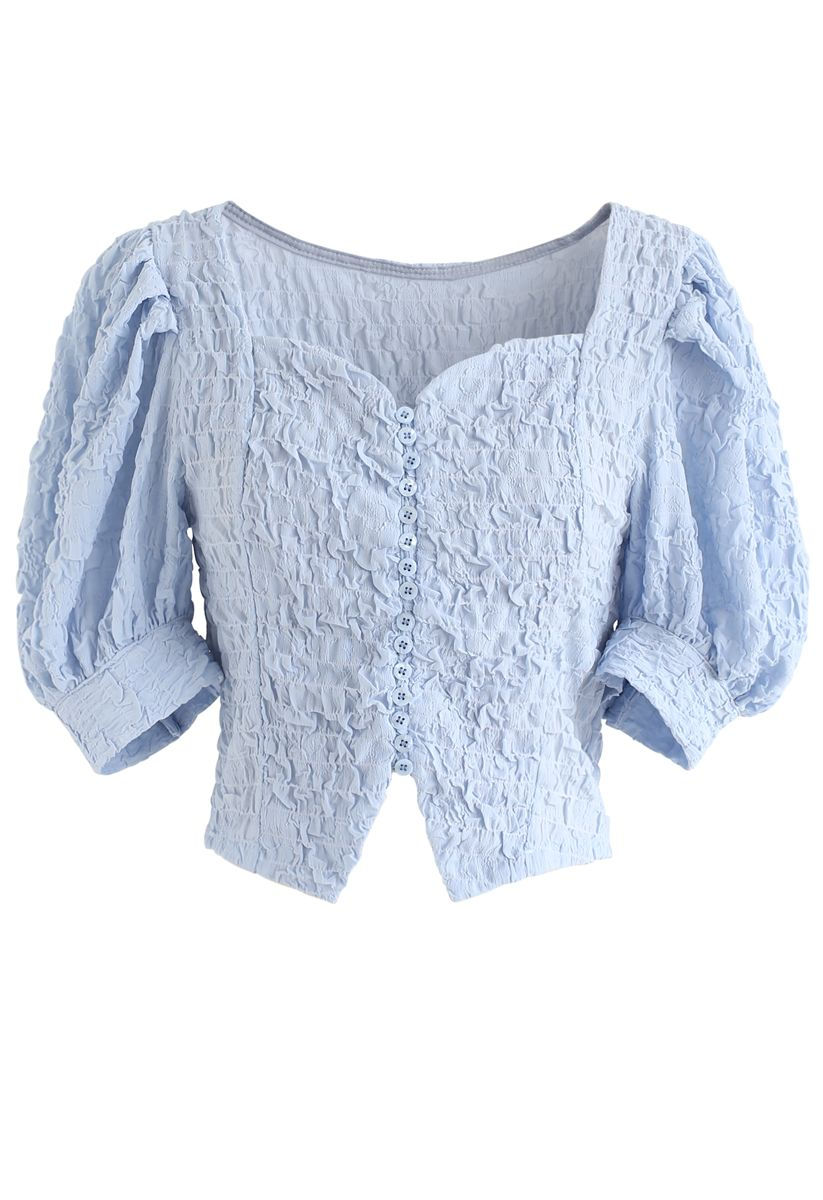 Sweetheart Neck Button Down Crop Top in Blue