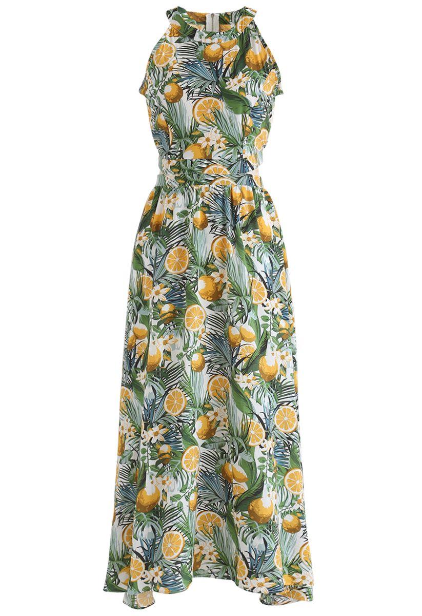 Tropical Fun Printed Halter Neck Maxi Dress