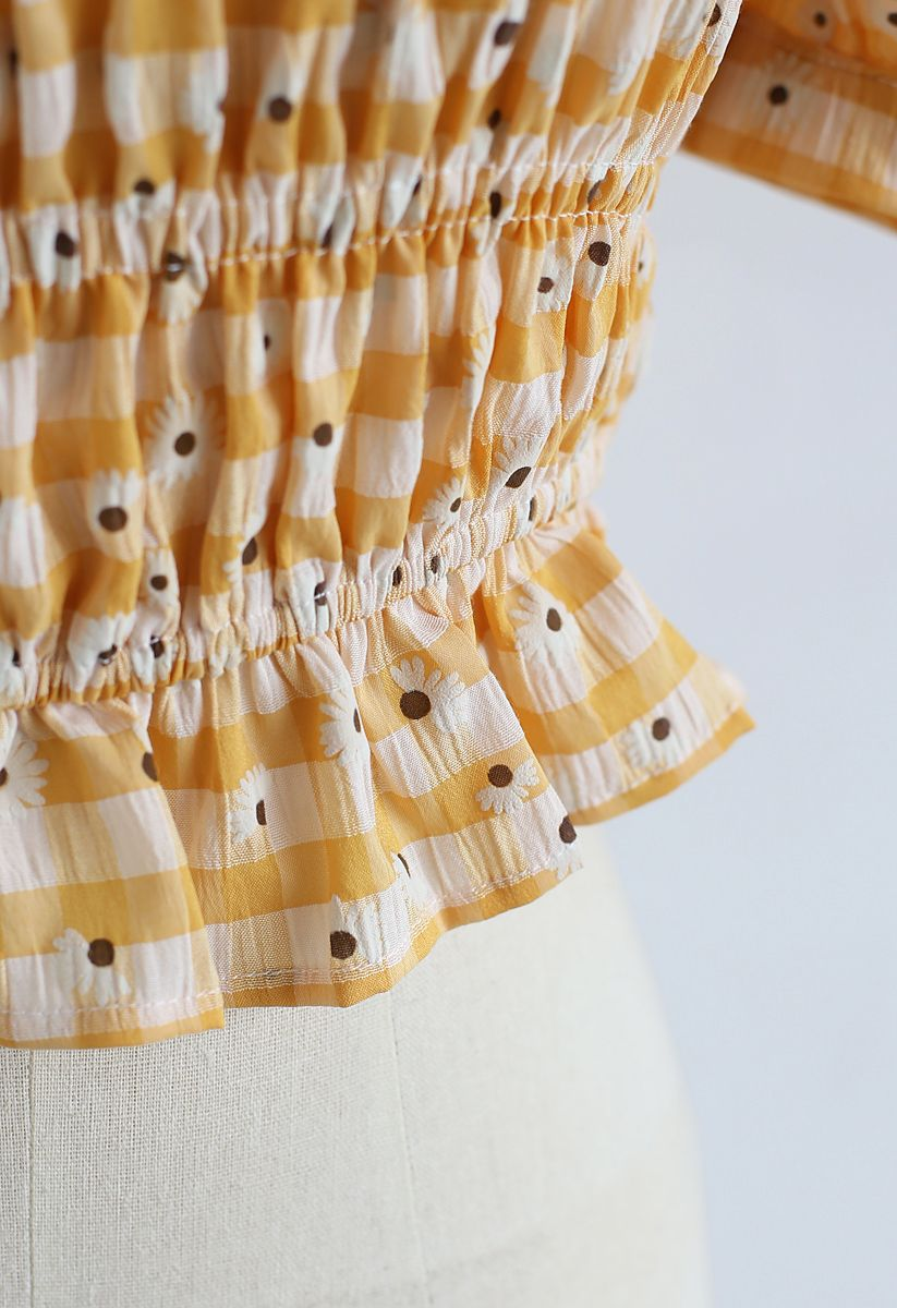 Daisy Square Neck Shirred Crop Top in Orange