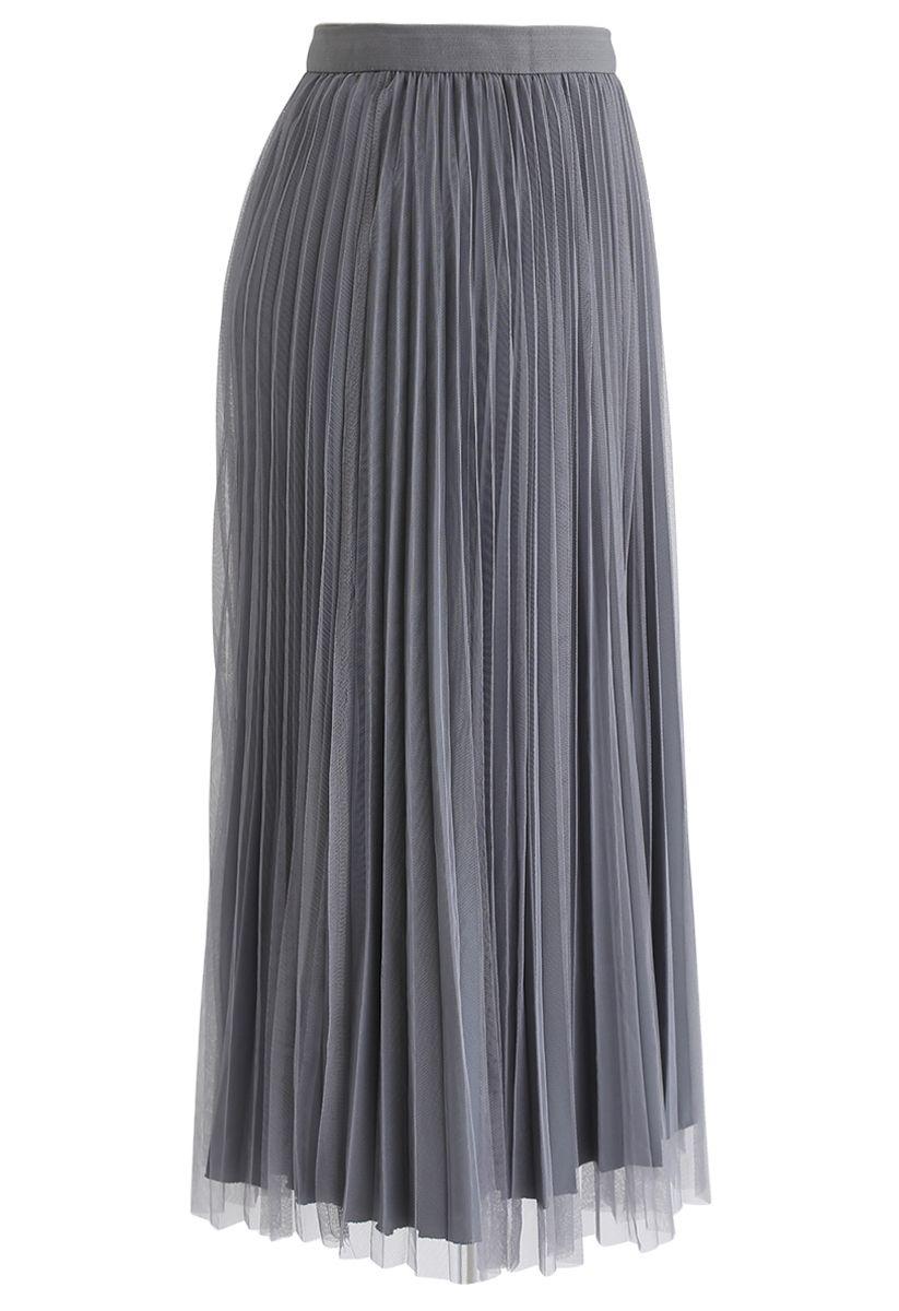 Reversible Pleated Midi Skirt in Grey