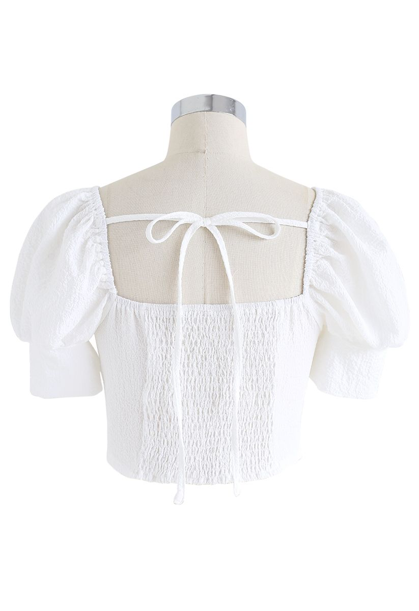 Shirred Back Sweetheart Neck Crop Top in White