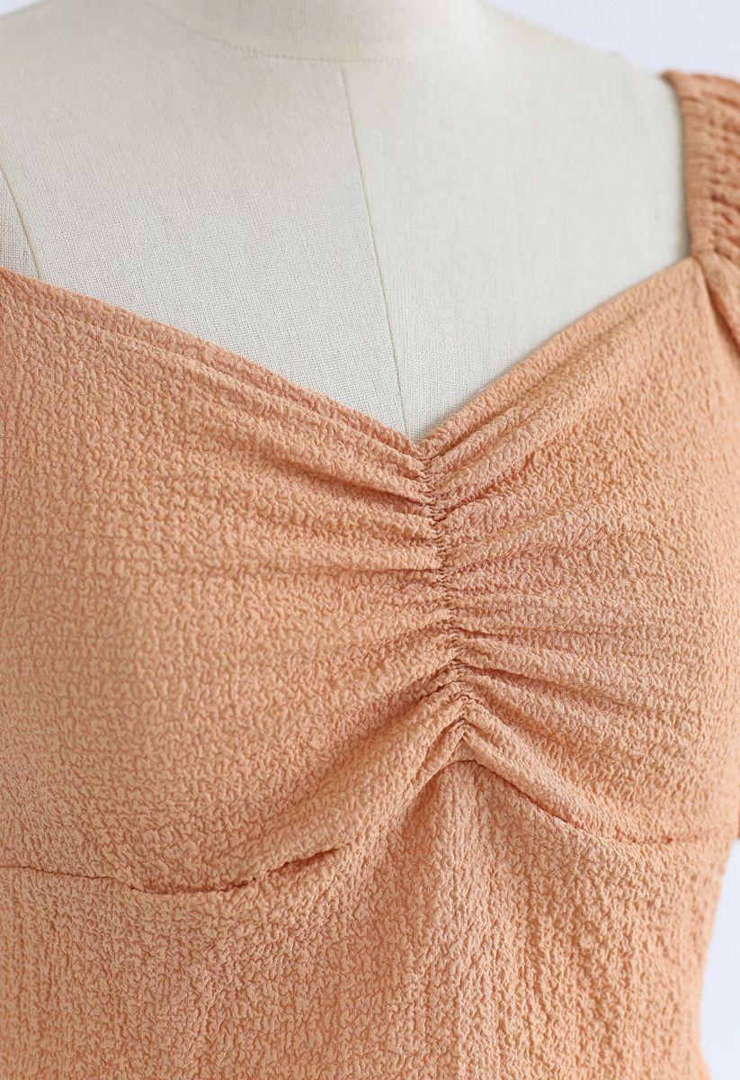 Shirred Back Sweetheart Neck Crop Top in Orange