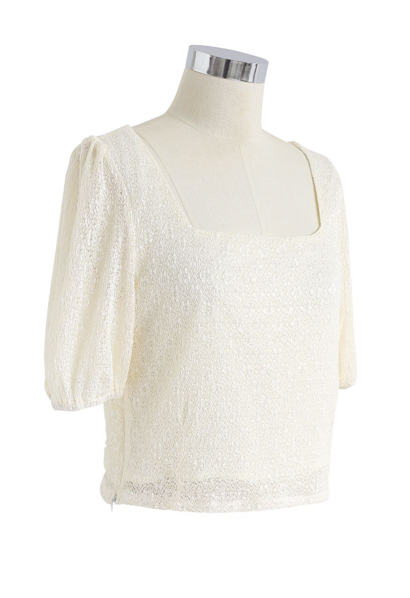 Airy Floret Crochet Square Neck Crop Top in Cream