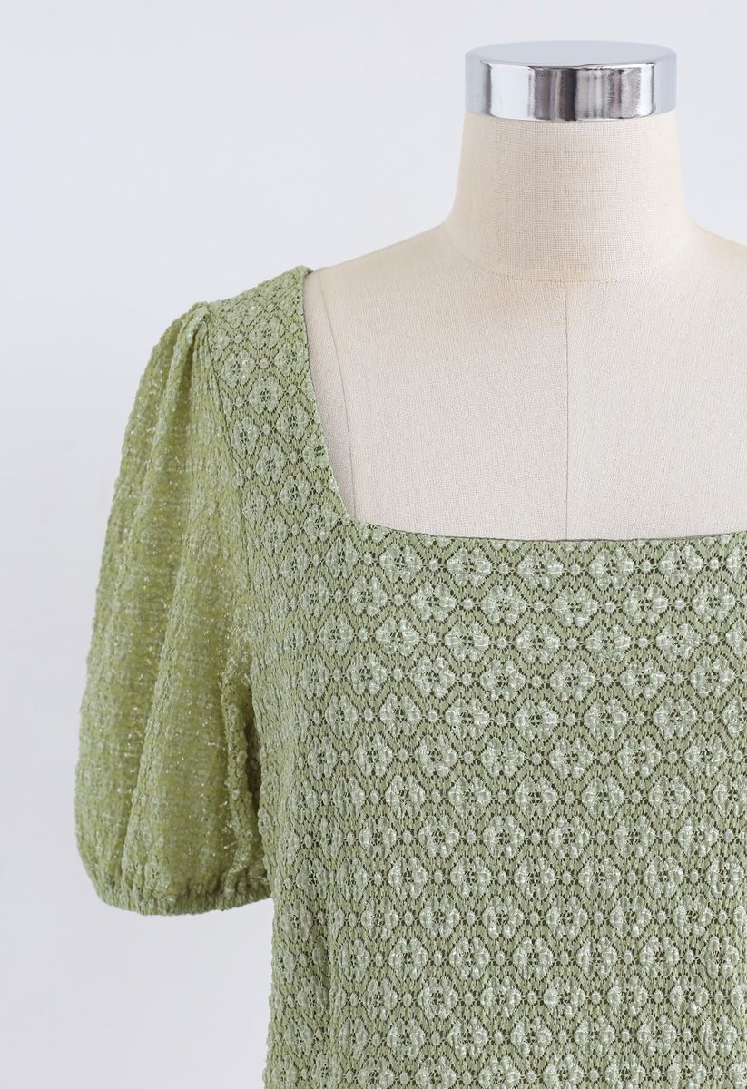 Airy Floret Crochet Square Neck Crop Top in Moss Green