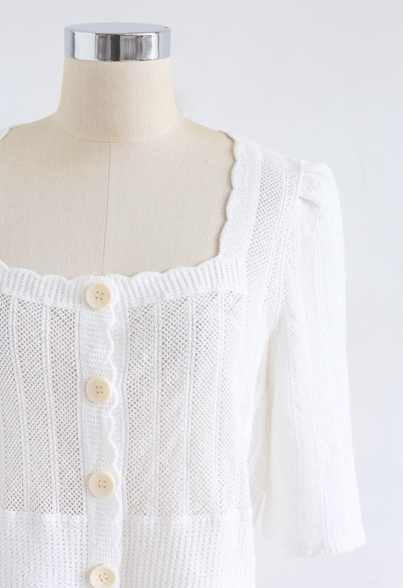 Open Knit Square Neck Button Down Crop Top in White