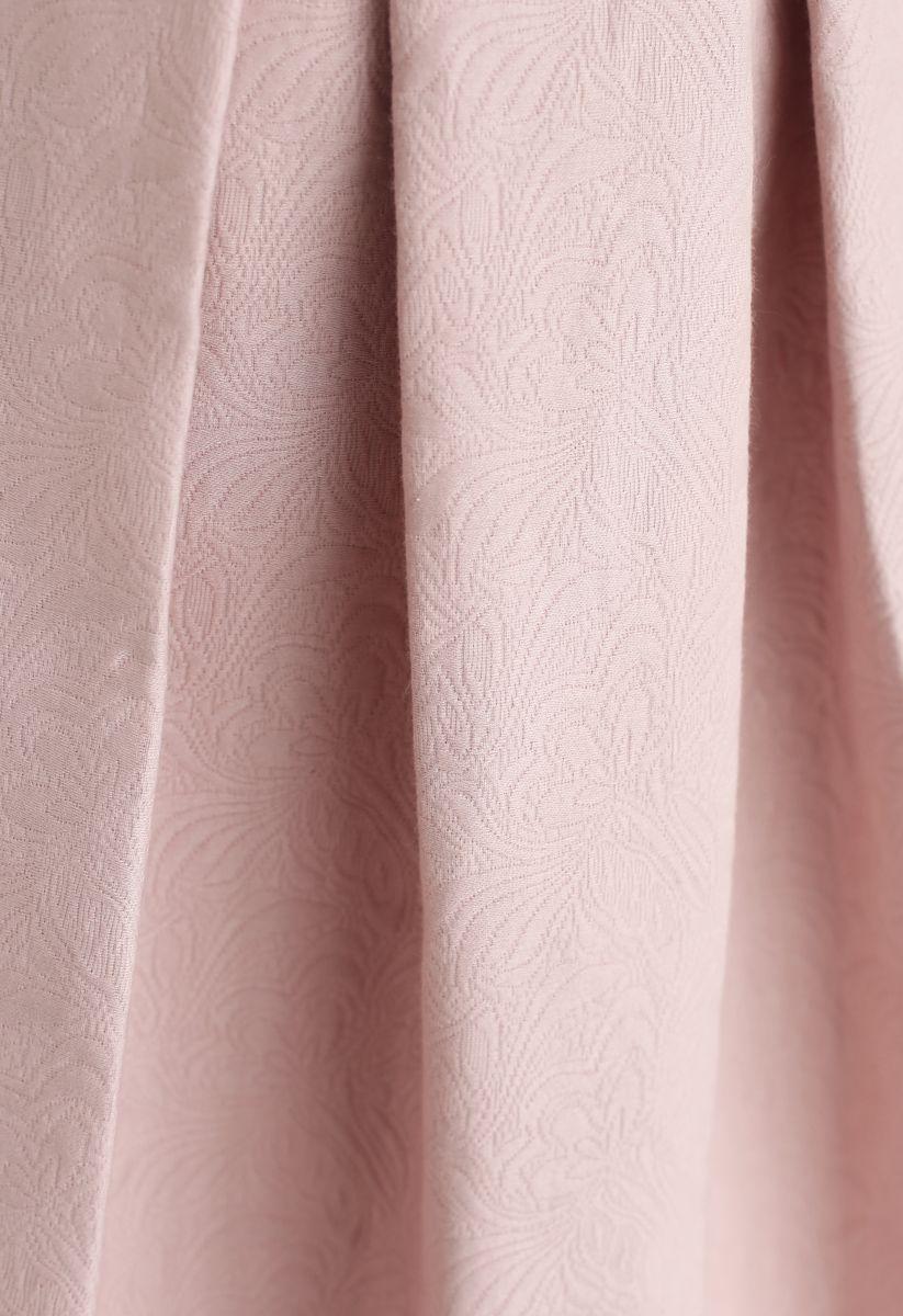 Light Pink Jacquard A-Line Pleated Midi Skirt