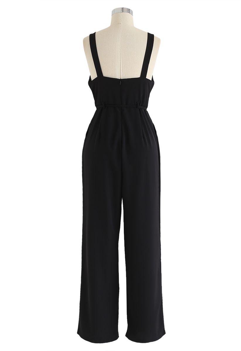 Belted Pockets Wide-Leg Cami Jumpsuit in Black