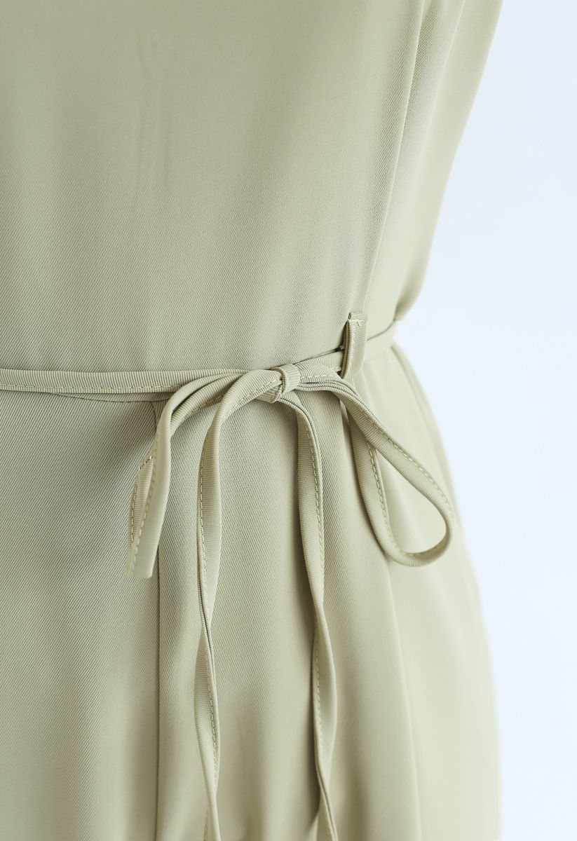 Belted Pockets Wide-Leg Cami Jumpsuit in Pistachio