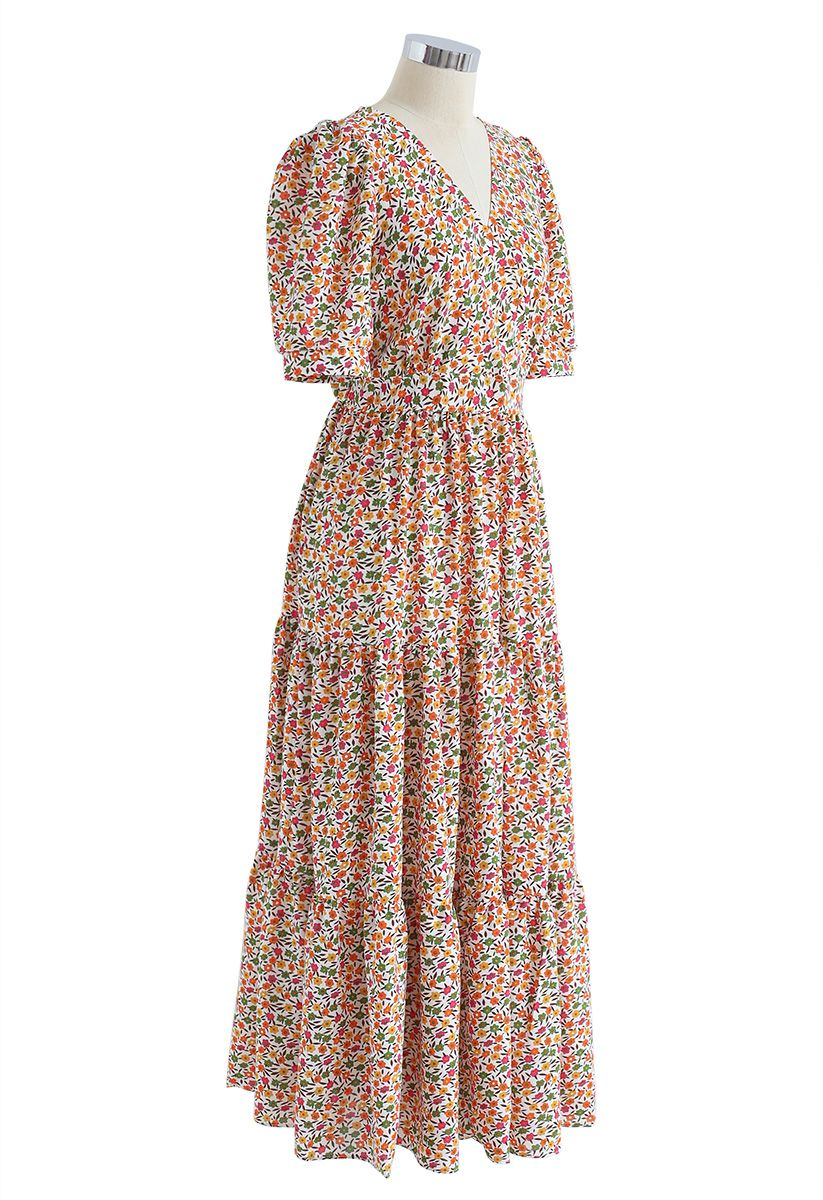 Tender Floret Wrapped Maxi Dress in White
