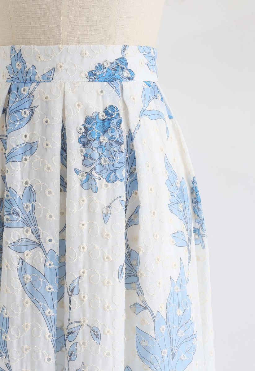 Blue Floral Printed Eyelet Embroidered Midi Skirt