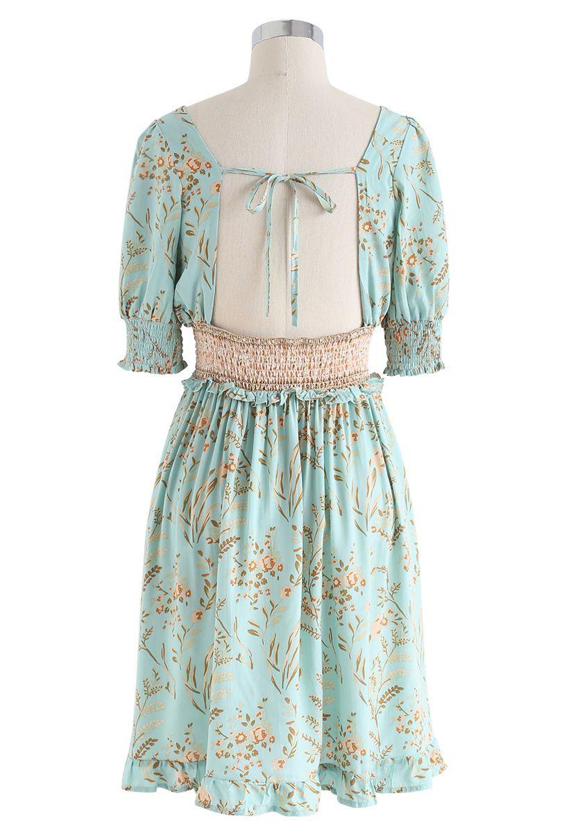 Greenery Posy Print Square Neck Shirred Dress