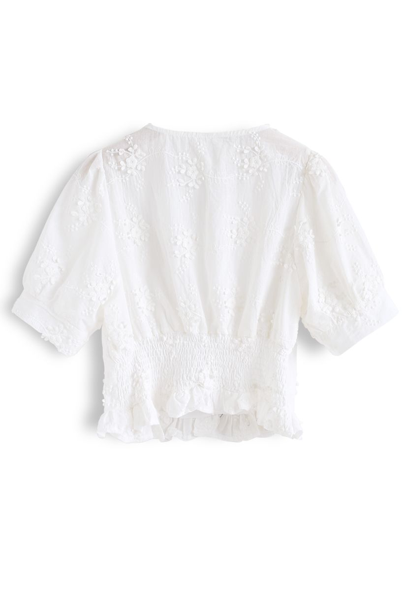 3D Floral Embroidery Ruffle Shirred Top