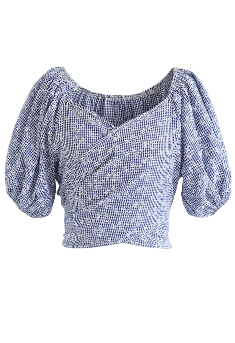Gingham Floral Puff Sleeves Wrapped Top in Navy