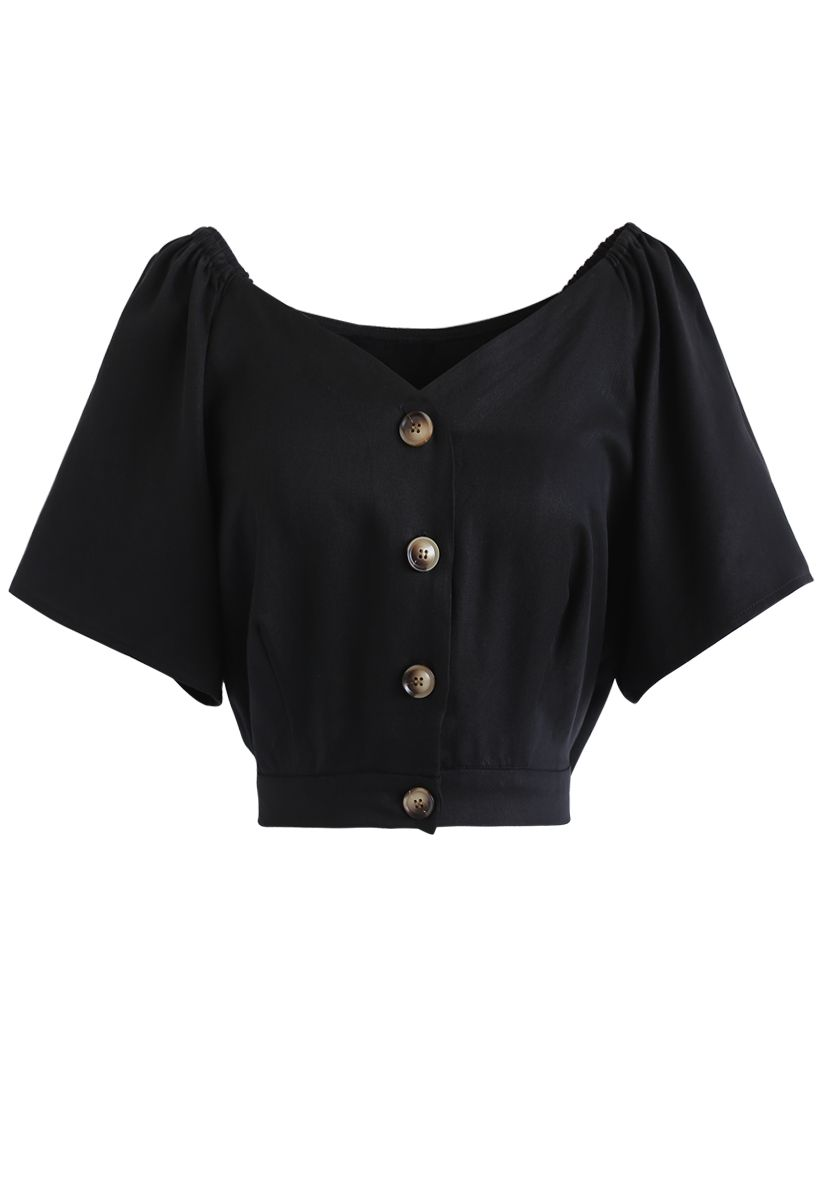 Horn Button Sweetheart Neck Bowknot Crop Top in Black