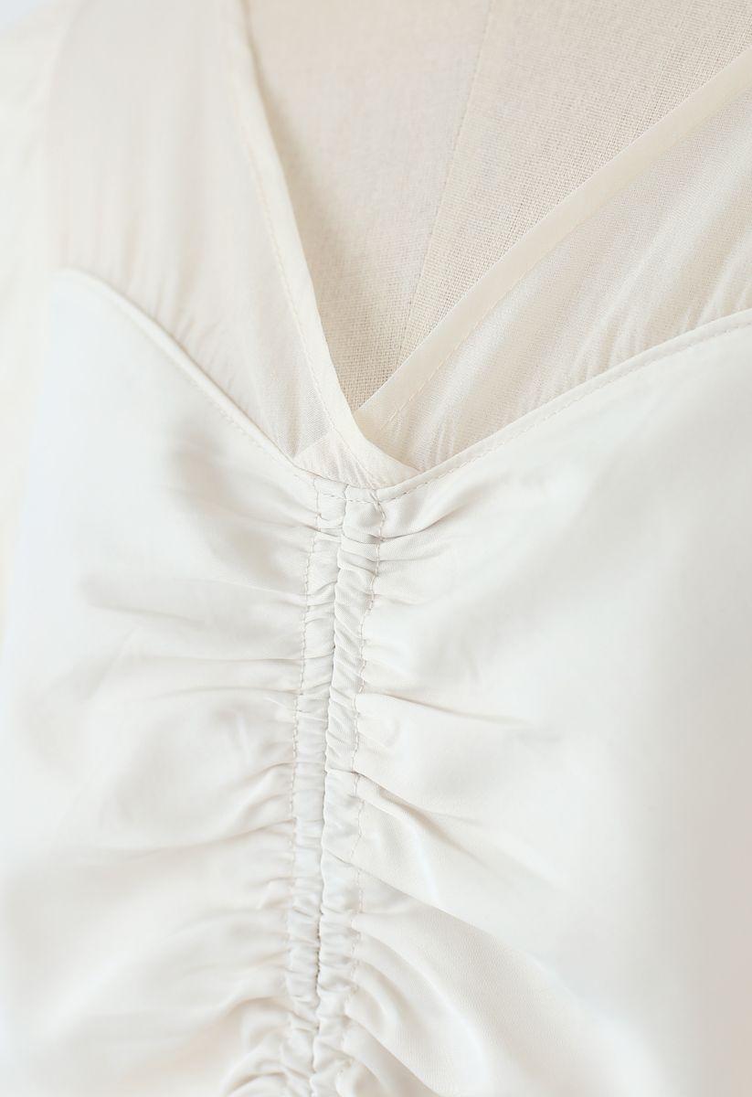 Organza Spliced Ruched Top in Cream