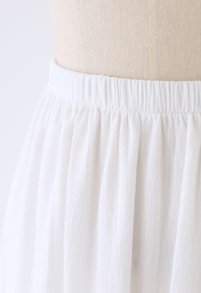 Pintuck Crochet Frill Hem Cotton Skirt in White
