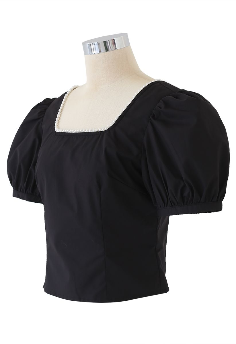 Pearl Trim Square Neck Puff Sleeves Top in Black