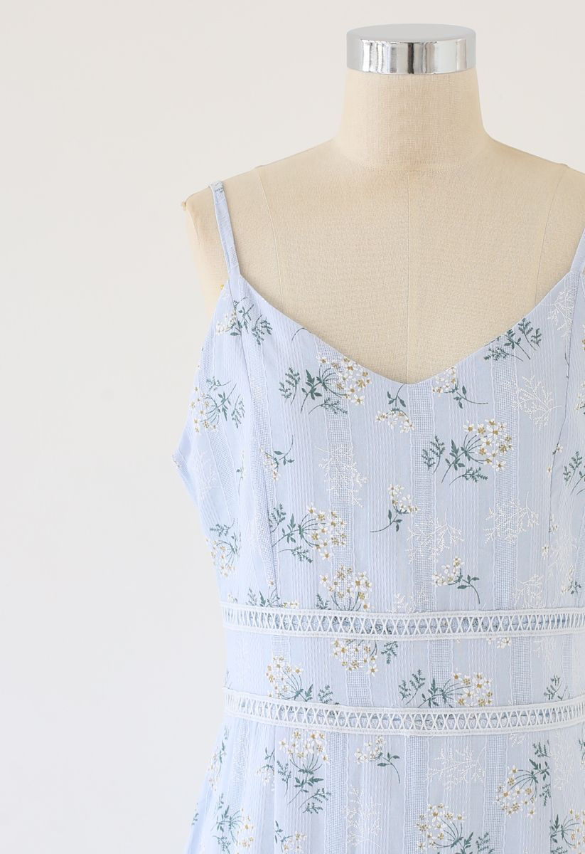 Bouquet Printed Stripe Embossed Bodycon Cami Dress in Baby Blue