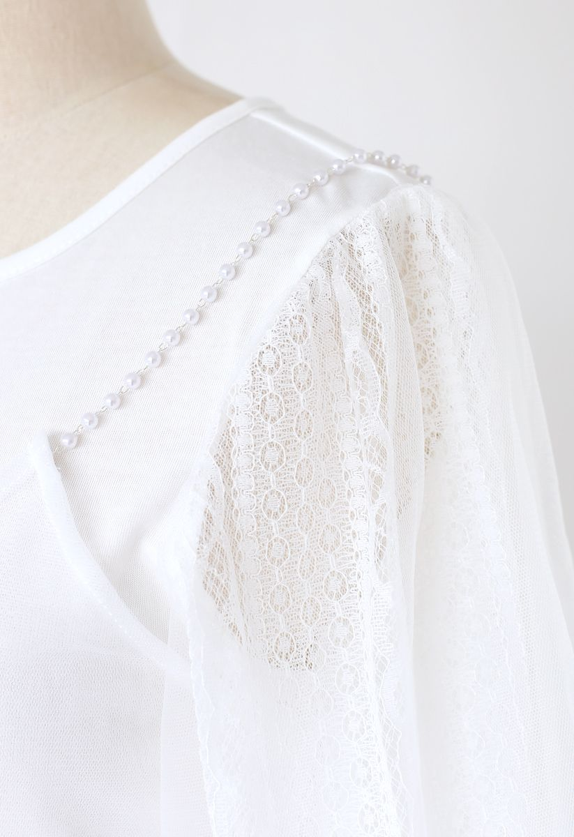 Lacy Bubble Sleeves Top and Pearl Trim Cami Top Set in White