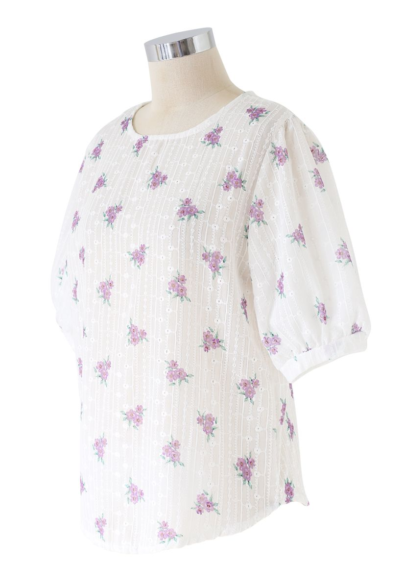 Purple Posy Print Embroidery Eyelet Top