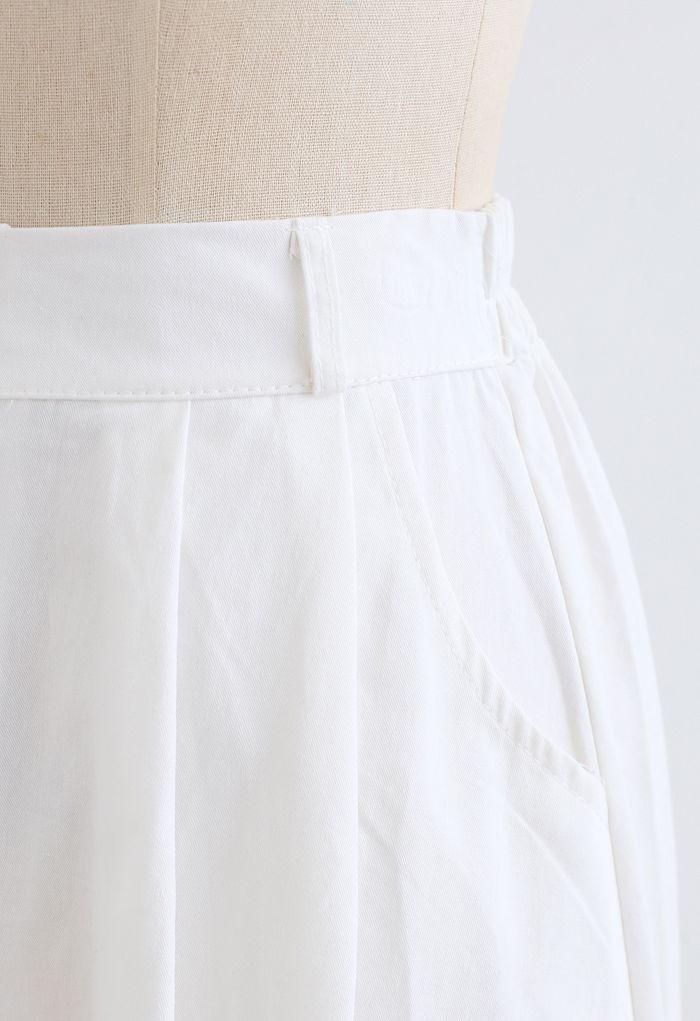 Slant Pockets A-Line Midi Skirt in White