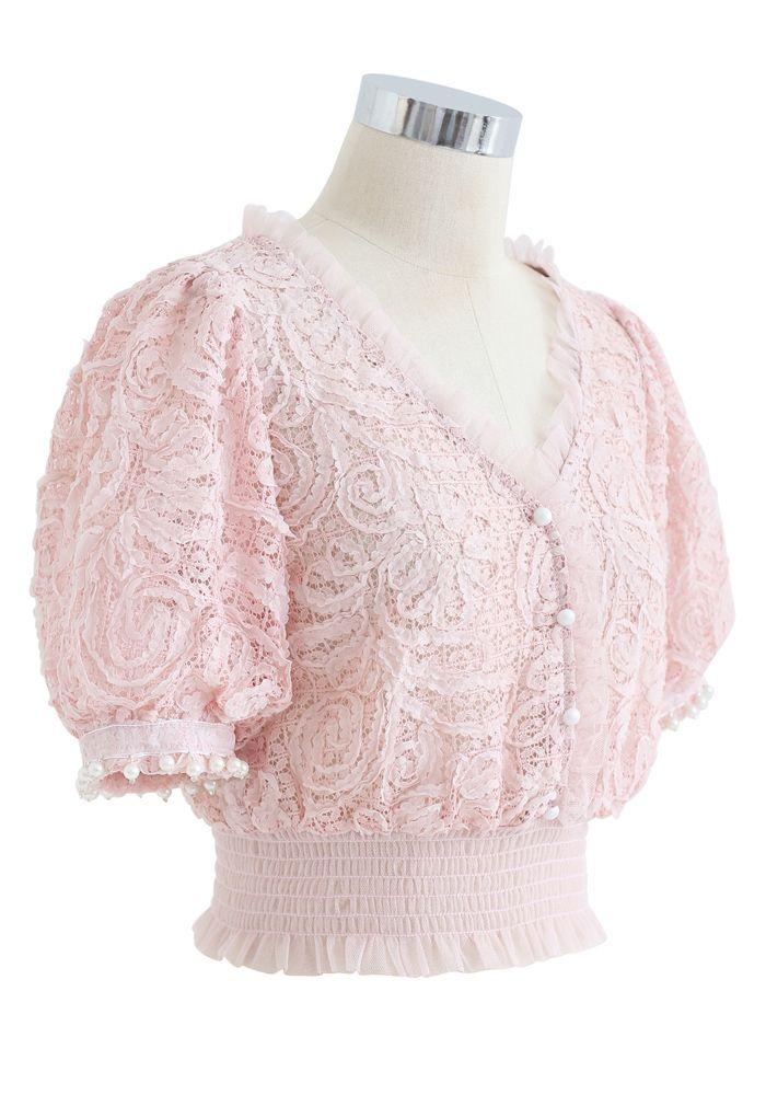 Soft Lace Pearl Trim Cuffs Mesh Crop Top in Pink
